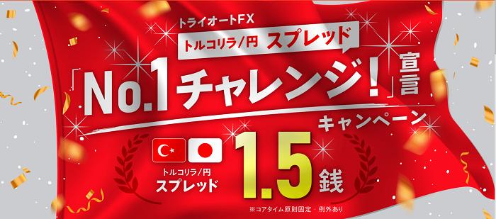 トルコリラ/円 スプレッド1.5銭キャンペーン