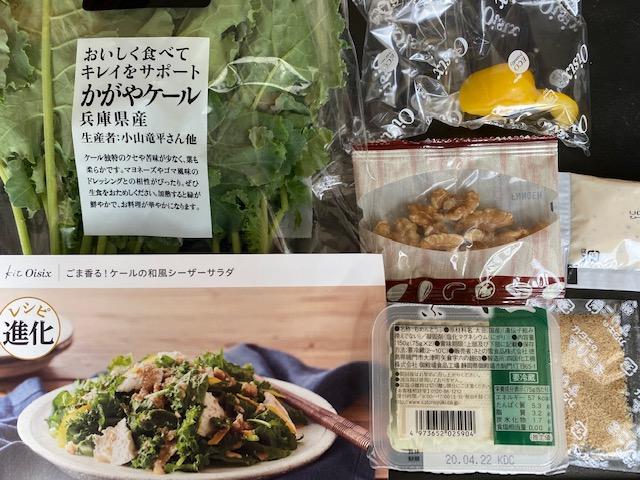 ケールの和風シーザーサラダ 食材