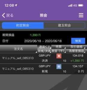 ポンド/円の取引結果