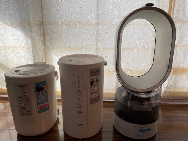加湿器3台の大きさ比較