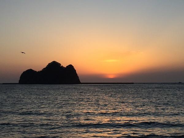 大田子海岸からの夕陽